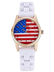 Women's Fashion Quartz Ceramic Casual Watch Cool Watch Unique Watch America Flag Round Dial Classic Watch