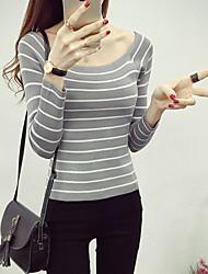 Women's Round Neck Wild Striped Knitting Skinny Skim Bottom Sweater