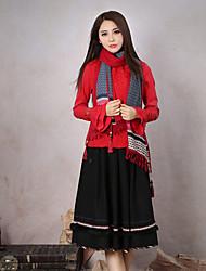 Tee-shirt Aux femmes,Couleur Pleine Sortie Vintage Printemps / Automne Manches Longues Col Ras du Cou Rouge Polyester / Spandex Moyen