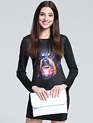 Moulante Robe Femme Travail simple,Imprimé Col Arrondi Mini Manches Longues Noir Coton Automne Taille Haute Micro-élastique Fin