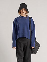 rizhuo mujeres que salen del azul de cuello redondo de manga larga de lana de invierno / casual / diaria simple regulares pulloversolid / acrílico