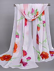Women's Chiffon Flowers Print Scarf Red/Orange/Pink/Beige/Blue