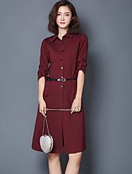 Feminino Camisa Vestido,Casual Simples Sólido Colarinho de Camisa Altura dos Joelhos Meia Manga Vermelho / Preto Algodão OutonoCintura