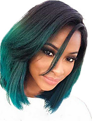 Women 12inch Bobo Straight Cosplay Synthetic Hair Wigs Side Bang Green with Free Hair Net