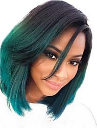 mulheres de 12 polegadas bobo cosplay reta estrondo lado perucas de cabelo sintético verde com rede de cabelo gratuito