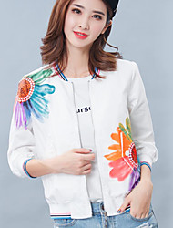 Women's Casual/Daily Simple Fall JacketsFloral Round Neck  Sleeve White Polyester Opaque