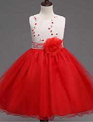 Vestido Chica de-Noche-Un Color-Algodón / Poliéster-Verano / Primavera / Otoño-Verde / Rojo
