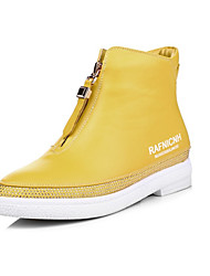 Unisex Sneakers Spring / Summer / Fall / Winter Flats Leatherette Casual Flat Heel Crystal Yellow / Red / White Cycling