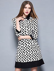 Boutique S Women's Work Vintage Sheath DressGeometric Shirt Collar Above Knee  Sleeve White Polyester Spring