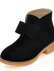 Women's Boots Winter Motorcycle Boots / Bootie Dress Low Heel Bowknot Black / Yellow / Beige Others