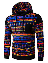 Men's Sports Casual/Daily Hoodie Print Color Block Cotton Long Sleeve Fall Winter