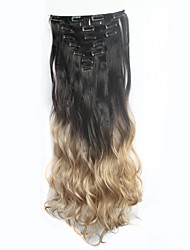 24inch7Pcs/set Clip In Hair Extensions Natural Curly Wavy Ombre Dip Dye Long Hairpiece Heat Resistant Synthetic Hair