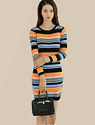 Women's Going out Simple Bodycon DressStriped / Patchwork Round Neck Above Knee Long Sleeve Red / Green / Orange