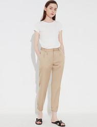 Mulheres Calças Simples Chinos Poliéster / Elastano Micro-Elástica Mulheres