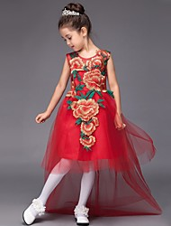 Ball Gown Court Train Flower Girl Dress - Tulle Jewel with Appliques