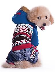 Chat Chien Manteaux Pulls à capuche Vêtements pour Chien Hiver Printemps/Automne Couleur Pleine Mode cow-boy Coupe-vent Bleu Rose