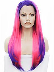 imstyle 16 pink-blau ombre synthetische Spitzefrontseiten-Perücken mit blauem Wurzel