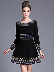 Feminino Evasê / Bainha Vestido,Casual / Festa/Coquetel / Tamanhos Grandes Vintage / Simples / Boho Color Block / Bordado Decote Redondo