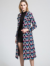 BORME Women's Shirt Collar Long Sleeve Trench Coat Multi-Y075col