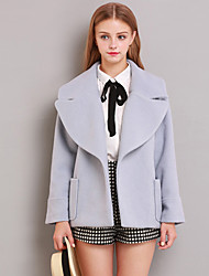 Linjou Women's Going out Cute CoatSolid Notch Lapel Long Sleeve Winter Blue Wool