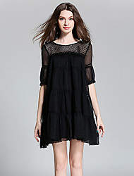 Burdully  Women's Work Simple Loose DressSolid Round Neck Above Knee / Asymmetrical  Length Sleeve White / Black
