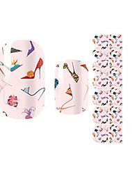 Fashion Charmming Pink High-heeled Shoes Nail Decal Art Sticker Gel Polish Manicure Beautiful Girl