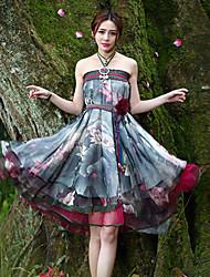 Damen Röcke - Retro Knielang Polyester Mikro-elastisch