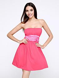 Club A Line Dress,Solid Strapless Mini Sleeveless Blue / Red / Black / Purple Cotton Summer Micro-elastic Thin