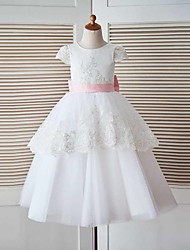 A-Line Floor Length Flower Girl Dress - Lace Tulle Short Sleeves Jewel Neck with Applique by thstylee