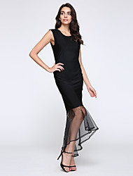 Women's Ruffle Sleeveless Sexy Bodycon Party Long Fishtail Dress Party Dress