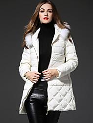 frmz твердый белый вниз coatsimple с капюшоном с длинным рукавом женщин