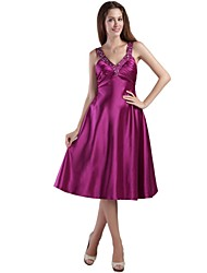 Cocktail Party Dress - Beautiful Back A-line Straps Tea-length Stretch Satin with Beading