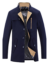Men's Solid Casual / Work Trench coatCotton / Polyester Long Sleeve-Blue / Brown / Red