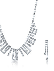 Jewelry Necklaces / Earrings Crystal Wedding 1set Women Silver Wedding Gifts