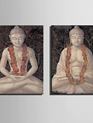 E-HOME® Stretched Canvas Art Stone Buddha Statue Decoration Painting  Set of 2