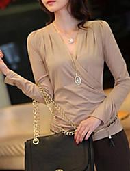 Damen Solide Einfach / Street Schick Formal T-shirt,Chorhemd Ausschnitt Frühling / Herbst / Winter Langarm Mittel