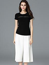 случайные / сут простой летом T-shirtsolid шею с коротким рукавом frmz женщин черный
