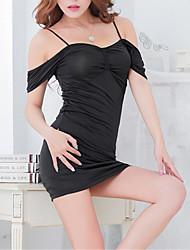 Для женщин Ультра-секси Форма / чонсам Костюм Ночное белье Смесь хлопка Черный