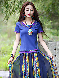Our Story Going out Vintage Summer T-shirtColor Block Round Neck Short Sleeve Blue Cotton / Spandex Medium
