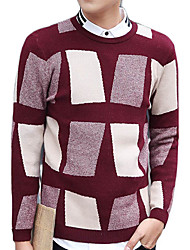 Men's Color Block Casual / Work / Formal / Sport PulloverCotton Long Sleeve Blue / Brown / Red