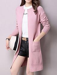 Longue Cardigan Femme Décontracté / Quotidien simple,Couleur Pleine Rose Gris Multi-couleur Drapé Manches Longues Polyester Spandex