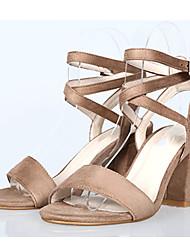 Women's Sandals Summer Heels / Sandals / Open Toe Fabric Office & Career / Dress / Casual Chunky Heel Buckle / Blue /