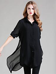 LUTING® Damen Hemdkragen Lange Ärmel Shirt & Bluse Schwarz-21324