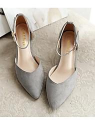 Черный / Розовый / Серый-Женский-Для прогулок-Флис-На толстом каблуке-На каблуках-Обувь на каблуках