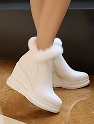 Women's Boots Spring Fall Fashion Boots Cowhide Outdoor Dress Flat Heel Flower Black White Others