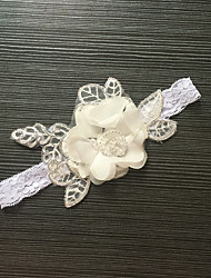 Garter Stretch Satin / Lace Flower White