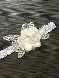 Strumpfband Stretch-Satin / Spitze Blume Weiß