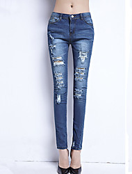 Women's Solid High Rise Hole Boyfrind Style Slim Over Hip Jeans / Skinny Pants,Simple