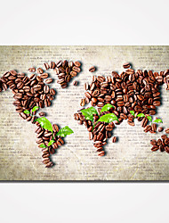 Stretched Coffee Beans Abstract Map Canvas Prints Modern Wall Art for Livingroom or Office Decoration Ready to Hang