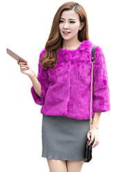 Women's  Fur Coat,Solid Round Neck ¾ Sleeve Fall / Winter Multi-color,Rabbit Fur Coat